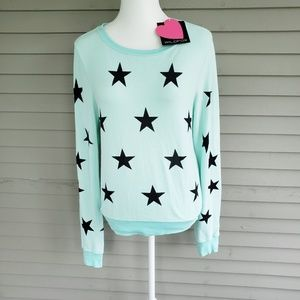 NWT Wildfox Teal Star Sweater Size XS